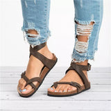 Cutelily Roman Sandals Buckle Peep-toe Flats (ship in 24 hours)