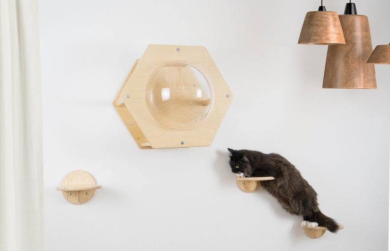Cat Modern Set of 1 HONEYCOMB with 3 ROUND STEPS NATURAL WOOD