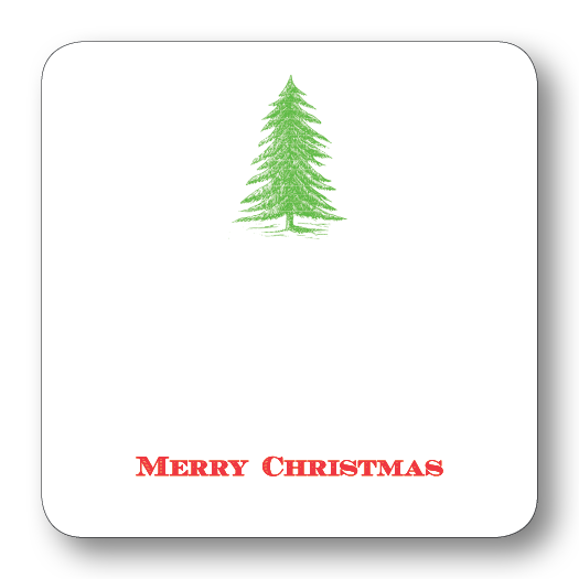 Traditional Tree Merry Christmas Gift Tags