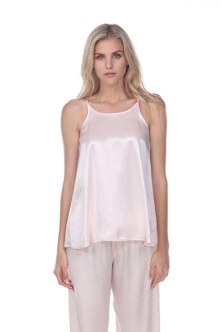 PJ-Harlow-Anne Satin Spaghetti Tank with Gathered Back