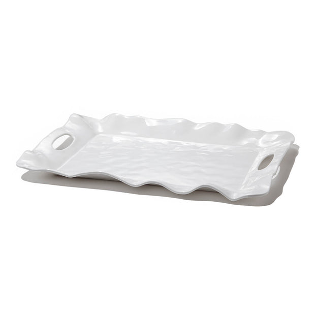 VIDA Havana White Melamine Rectangular Tray with Handles