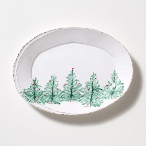 Vietri Lastra Holiday Small Oval Platter