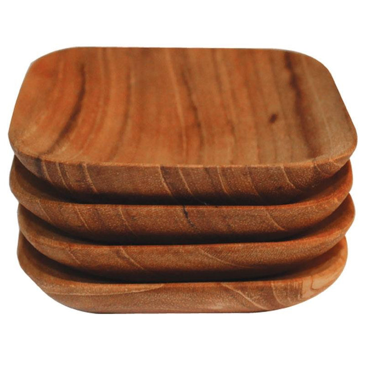 Teak Set of 4 Square Bowls