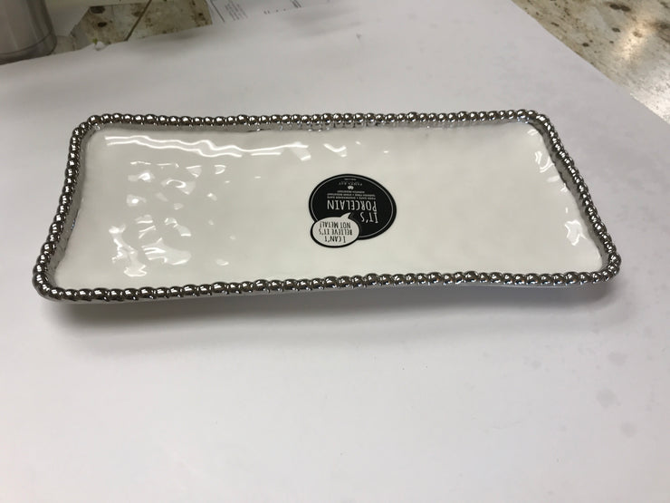 Pampa Bay Large Rectangular Platter-Silver Bead