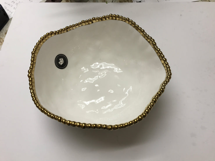 Pampa Bay-Large Round Serving Bowl-gold-beaded