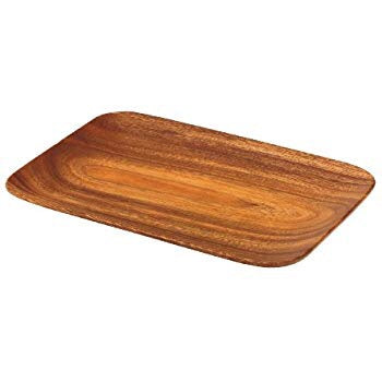 Acacia Wood Rectangle Tray with Rounded Edges