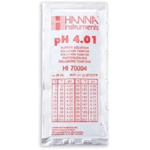 Hanna pH 4.01 Calibration Solution, 20ml (Sachets). Per Unit