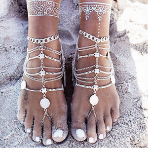 Bohemian Multilayer Tassel Coin Anklets