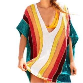 Striped Crochet Beach Cover up