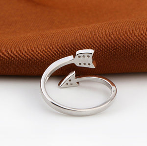 Silver Plated Arrow Crystal Adjustable Ring