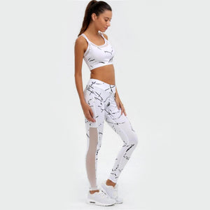 Printed Mesh 2 Piece Yoga Set