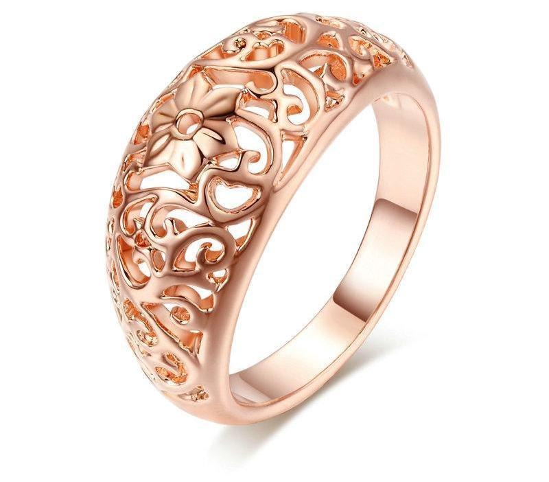 Hollow Flower Rose Gold Ring