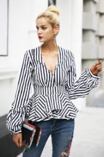 Ruffle V-neck Stripe Blouse