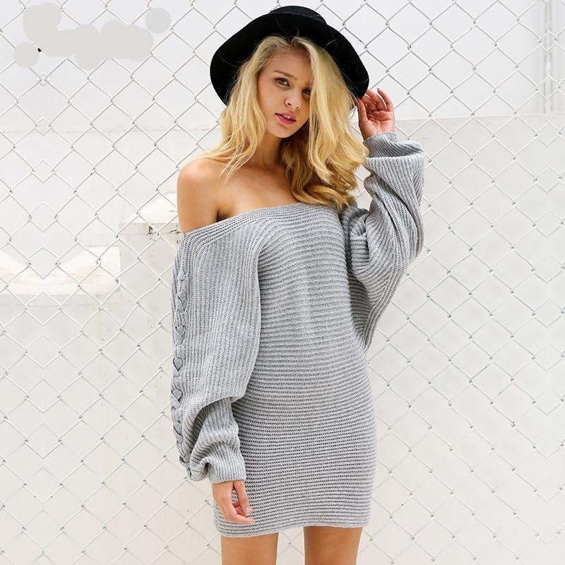 Lace Up Sweater Dress