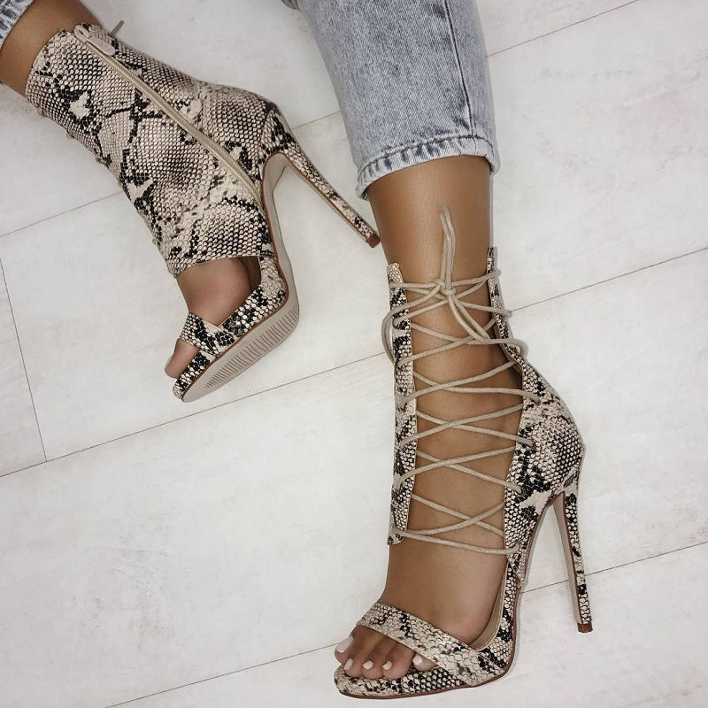 Laced Half-boot High Heels in Snakeskin or Black