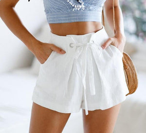 Tie Up Plaid Shorts