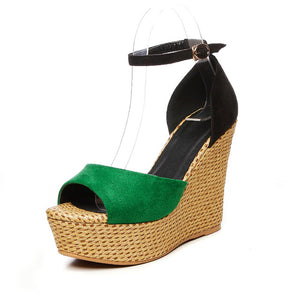 Peep Toe Ankle Strap Straw Weave Wedges