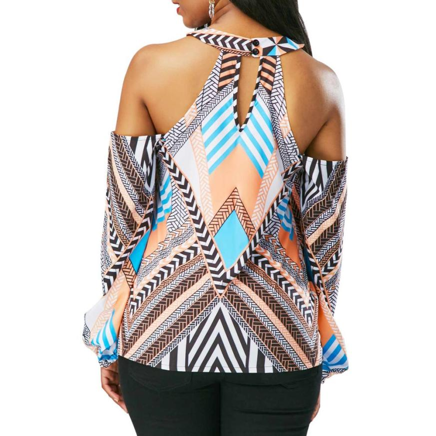 Sexy Off Shoulder Geometry Printed Blouse