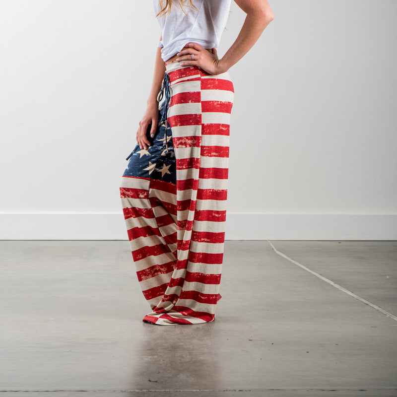 America Flag Printed Trousers