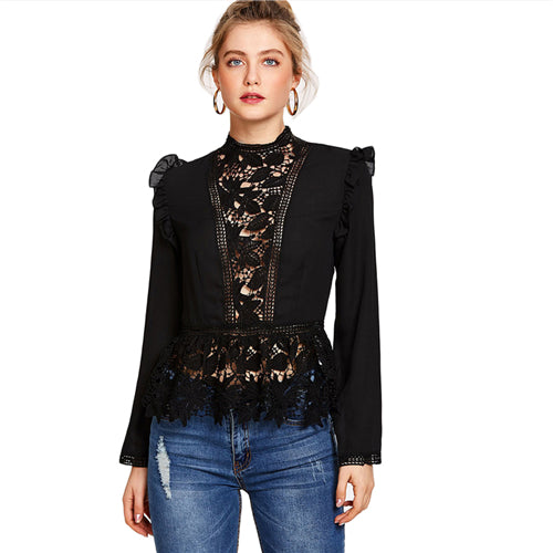 Frilled Shoulder Lace Blouse