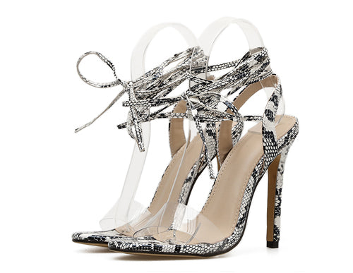 Snakeskin Ankle Lace Up High Heels