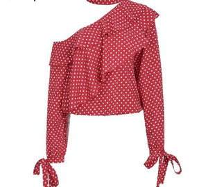 Retro One Shoulder Polka Dot Blouse