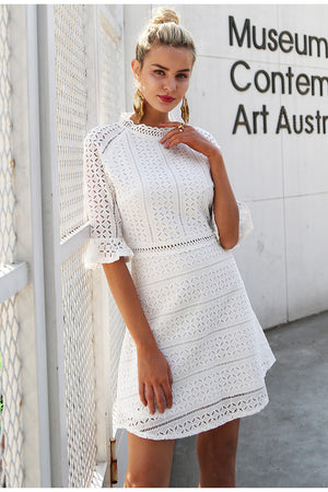 White Lace Half Sleeve Dress