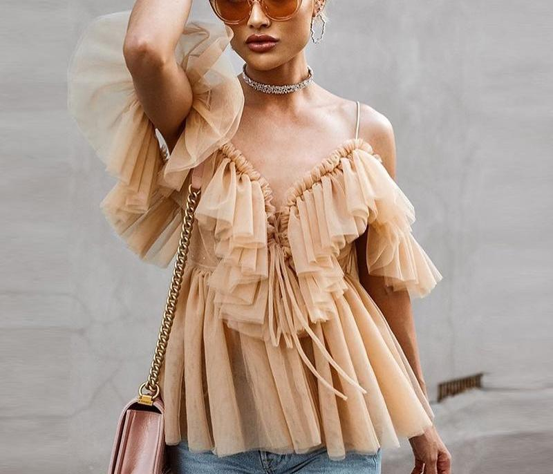 Backless Ruffle Mesh Blouse