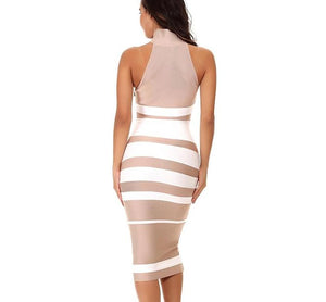 Stripe Fitted Bandage Dress