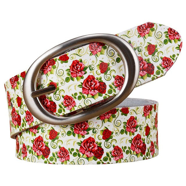 Printing Plaid Wide Leather Belt