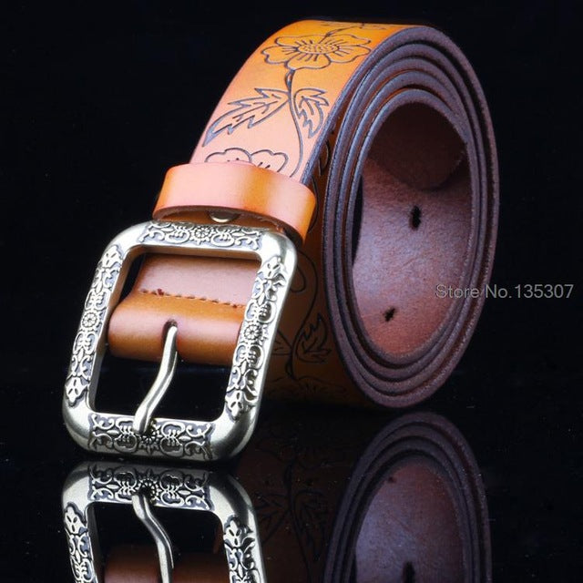 Wide Vintage Flora Leather Belt