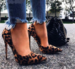 Pointed Toe Flock High Heels, Wine, Leopard