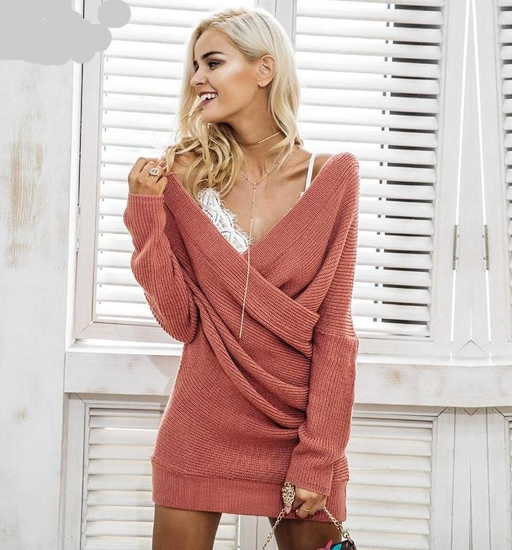 Sexy V Neck Cross Knitted Sweater Dress
