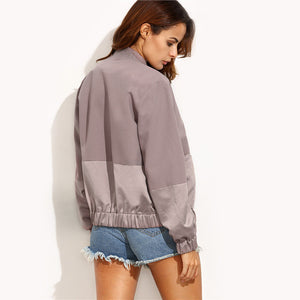 Block Pocket Zipper Front Jacket