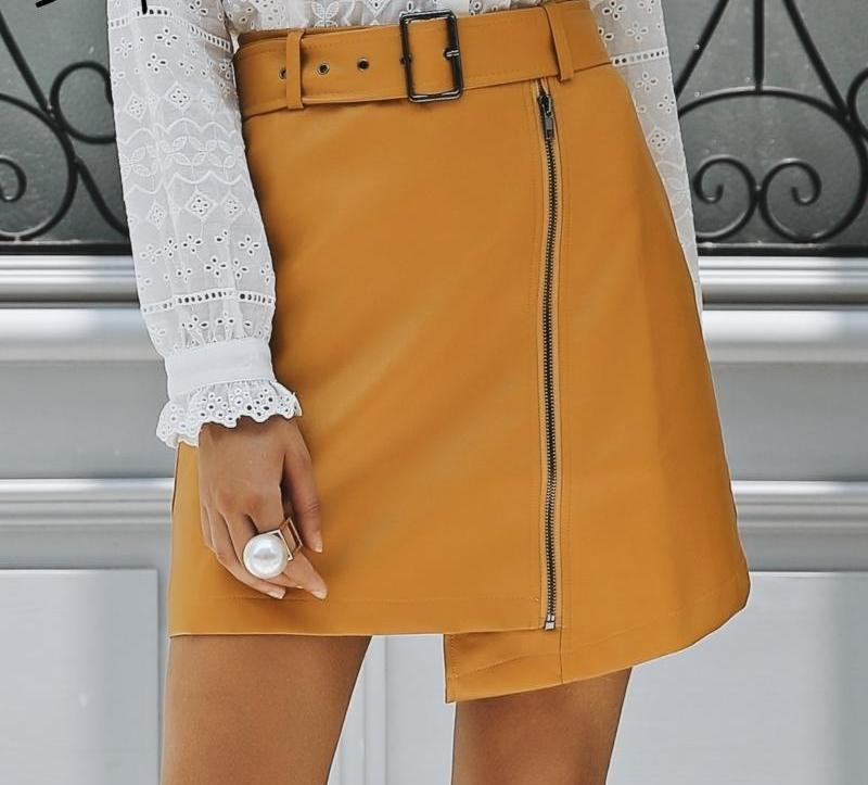 High Waist Sash Mini Skirts