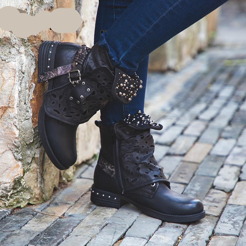 Rivet Buckle Lace-up Ankle Boots