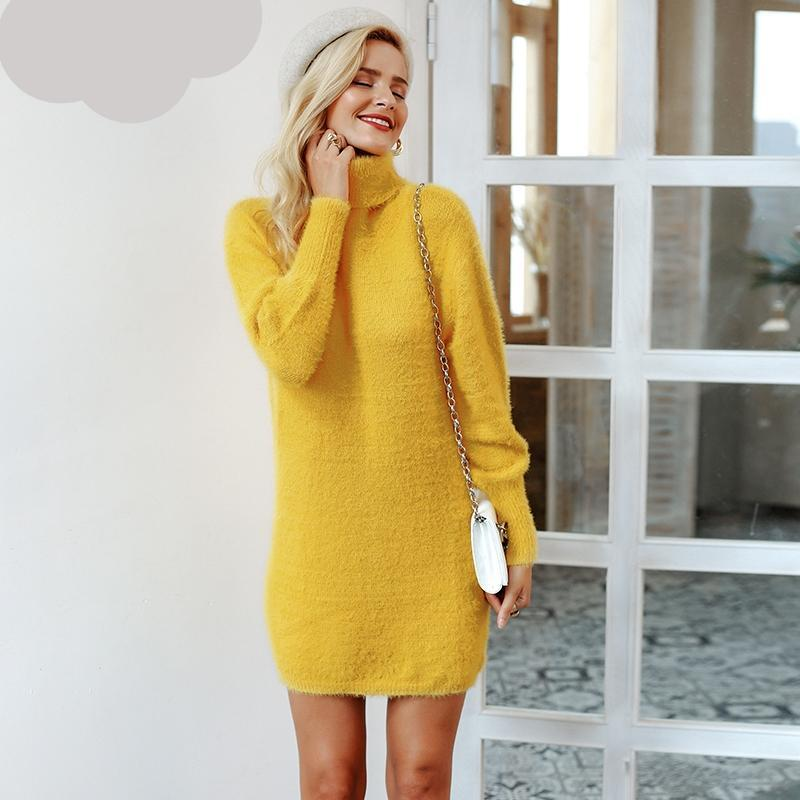 Turtleneck Lantern Sleeve Sweater Dress