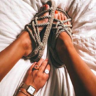 Rope Lace Up Cross-tie Sandals