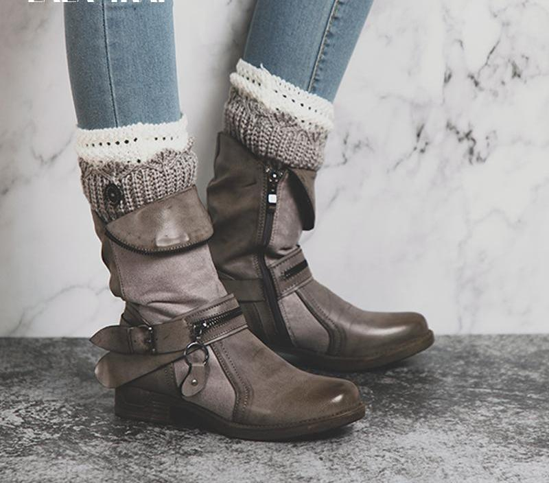 Zipper Leather Western Boots