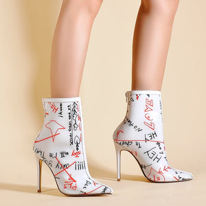 White Graffiti Ankle Boots