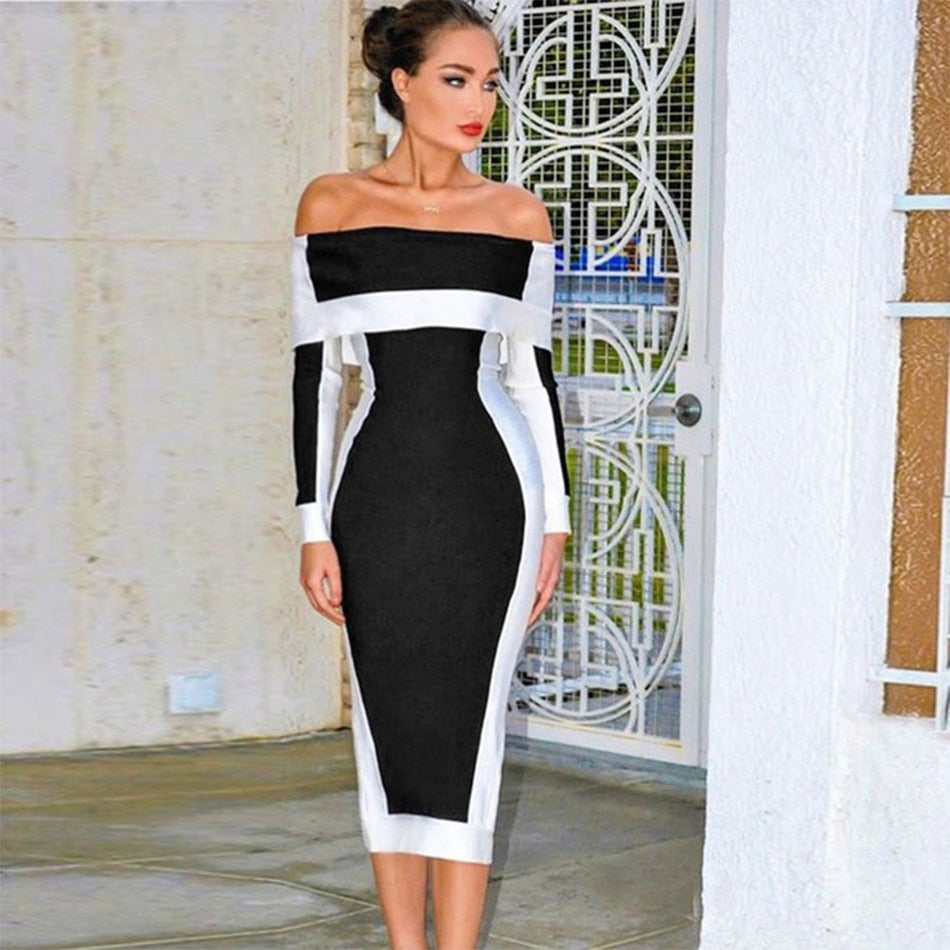 Off The Shoulder Slash Neck Dress
