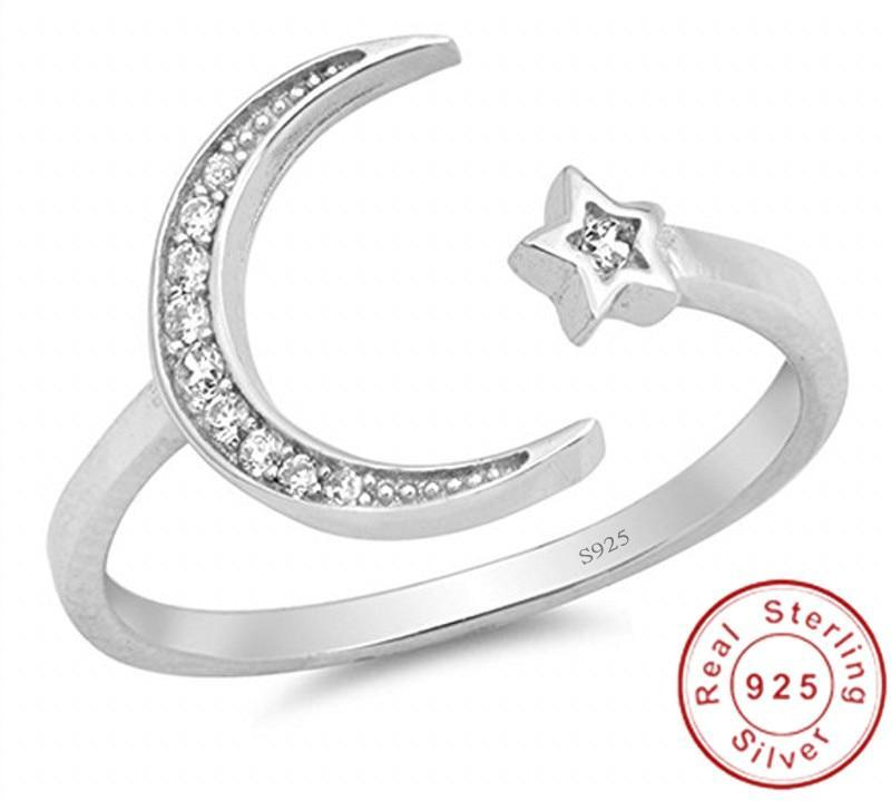 Star Moon Band 925 Sterling Silver