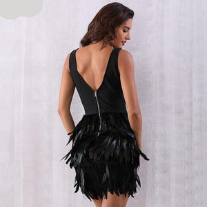 Sexy Feather V-Neck Dress