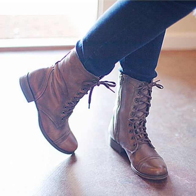 Short Tube Leather Military Boots