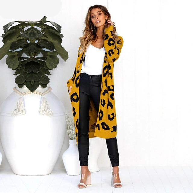 Leopard Print Long Cardigan