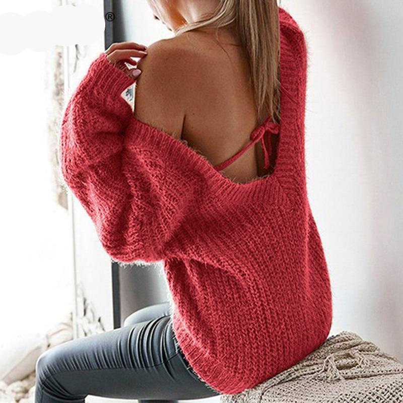 Backless Loose Knitted Pullovers Sweater