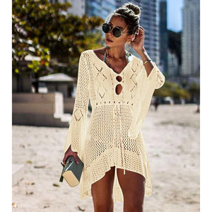 White Knitted Beach Cover-up