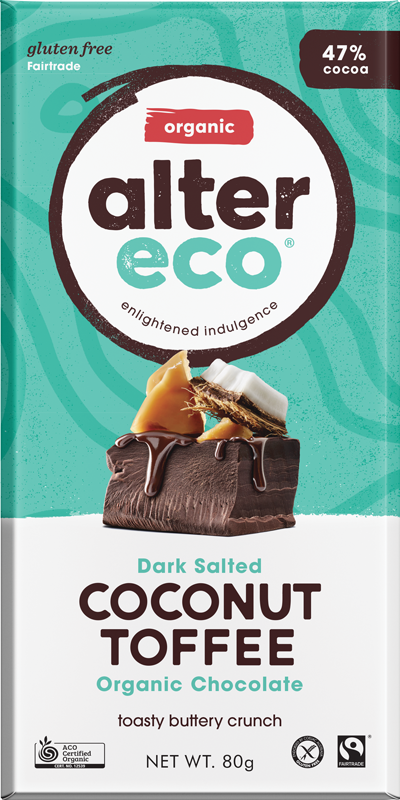 Dark Salted Coconut Toffee Package