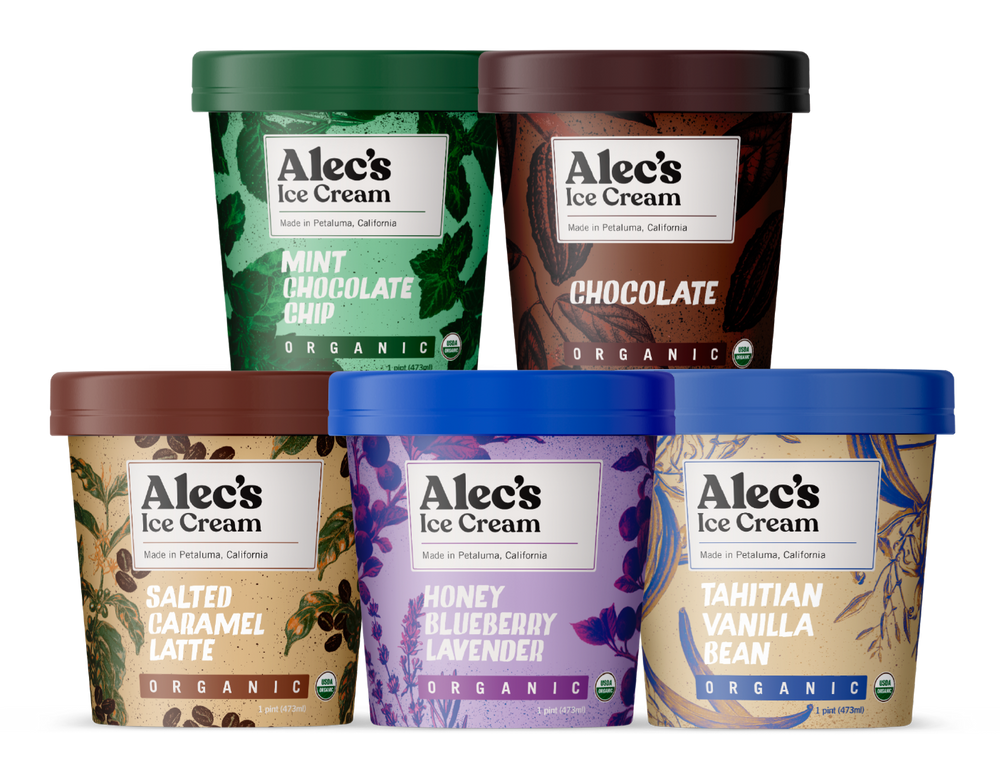 Alec's Ice Cream, All Five Flavors, Organic Mint Chocolate Chip, Organic Chocolate, Salted Caramel Latte, Honey Blueberry Lavender, Tahitian Vanilla Bean