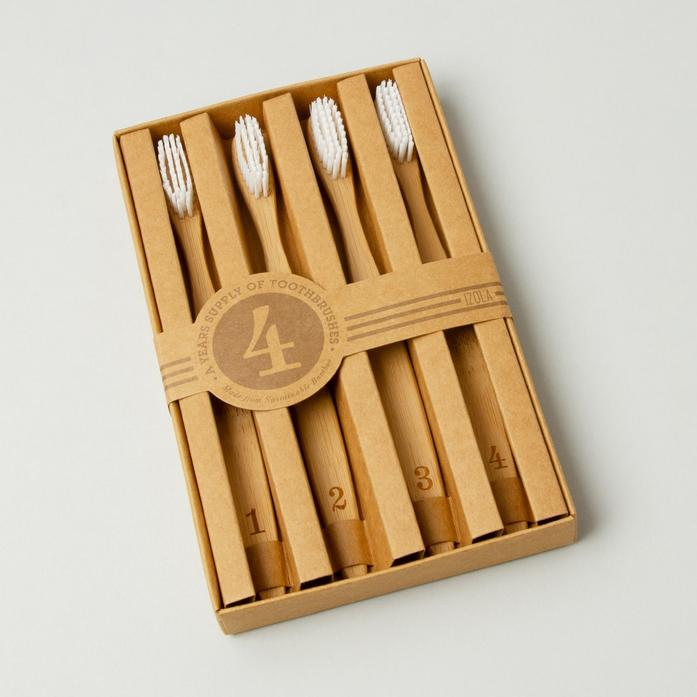 Bamboo Toothbrushes (Set of Four) - Numerals
